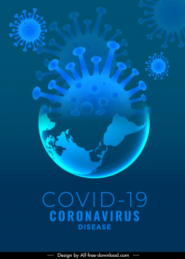 covid 19 banner template virus shaped earth sketch