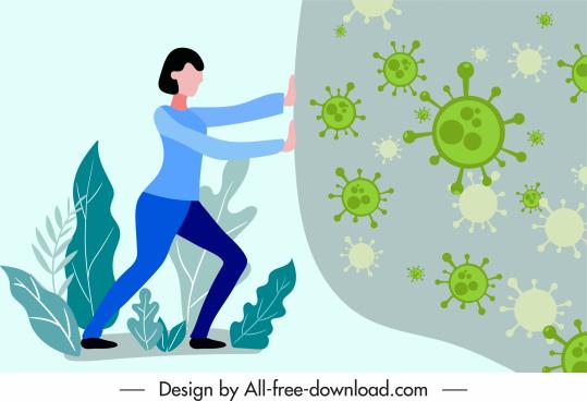 covid 19 banner woman pushing virus cartoon design