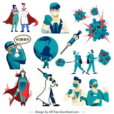 covid 19 design elements doctors viruses sketch