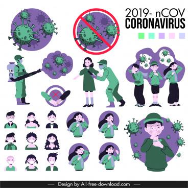 covid 19 epidemic design elements virus community sketch