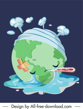 covid 19 epidemic poster stylized injured earth sketch