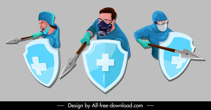 covid 19 icons fighting doctors sketch cartoon design