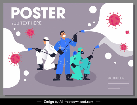 covid 19 poster antiseptic activity viruses sketch