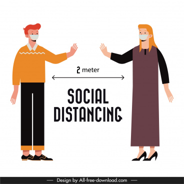 covid 19 poster distance instruction people sketch