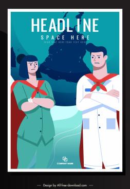 covid 19 poster doctor nurse superman sketch