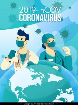 covid 19 poster doctors nurse earth virus sketch