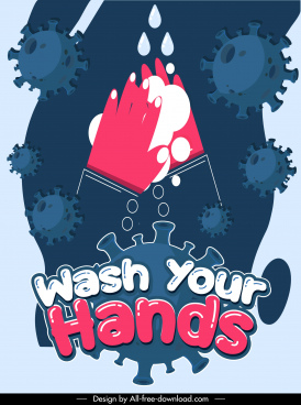 covid 19 poster handwash activity viruses sketch