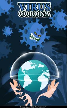 covid 19 poster stylized virus earth sketch dark design