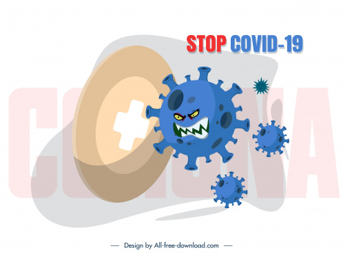 covid 19 poster stylized viruses icons sketch