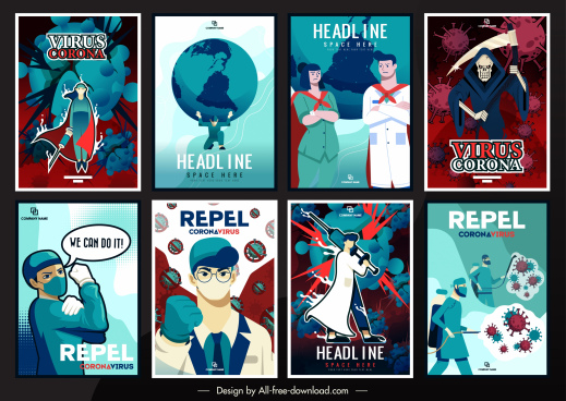 covid 19 posters templates doctors virus disease elements