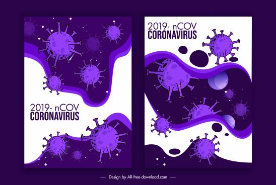 covid 19 posters viruses sketch dark violet decor