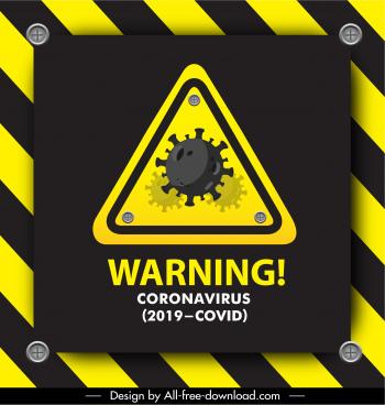 covid 19 warning sign template black yellow decor