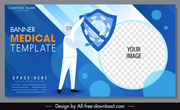 covid banner template doctor shield virus sketch