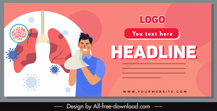 covid banner template patient lungs virues sketch