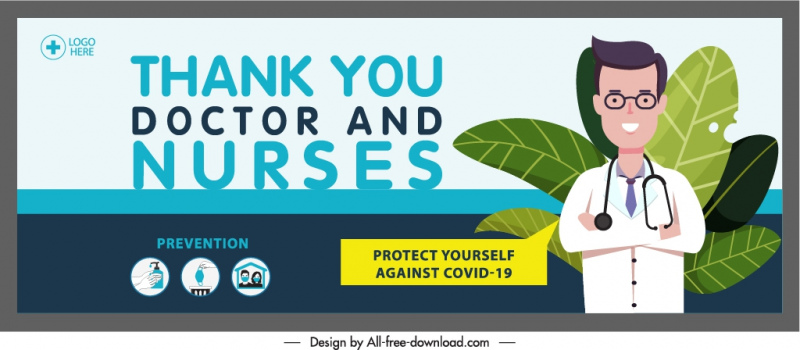 covid banner thanking message doctor sketch