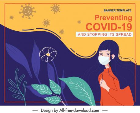 covid epidemic banner classical handdrawn girl flora sketch