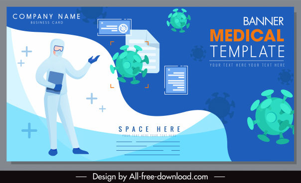 covid epidemic banner template doctor viruses sketch