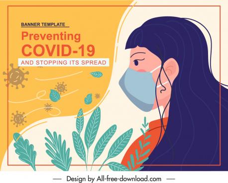 covid epidemic poster handdrawn woman leaf viruses sketch