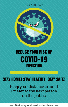 covid poster template cross stylized virus sketch