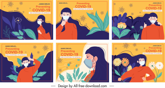 covid poster templates colorful classic woman nature elements