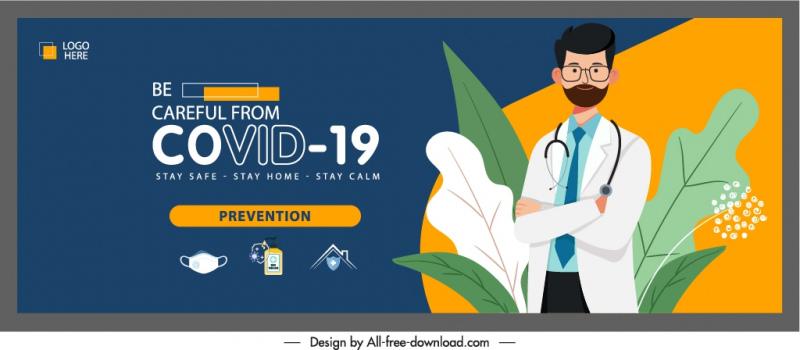 covid prevention banner doctor medical elements sketch