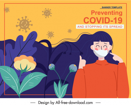 covid prevention banner flat classical cartoon nature elements