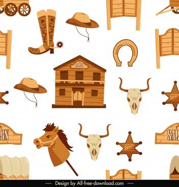 cow boy pattern template wild west symbols sketch