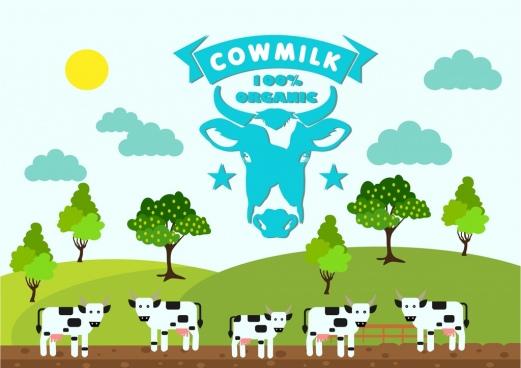 cow milk advertising banner colorful farmland scene ornament