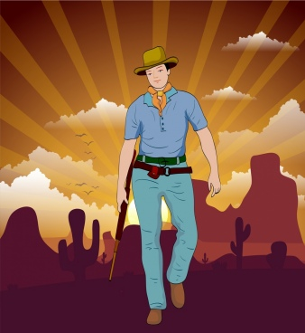 cowboy background man icon colored cartoon rays backdrop