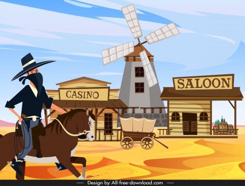 cowboy background robber wild west scene cartoon design