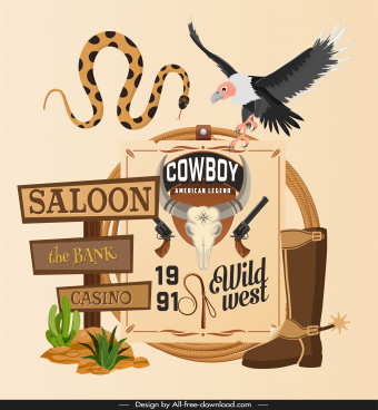 cowboy background template classic wild west symbols sketch