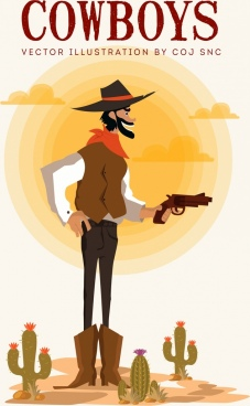 cowboy banner beard man icon colored cartoon design