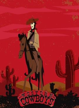 cowboy banner retro red design colored cartoon