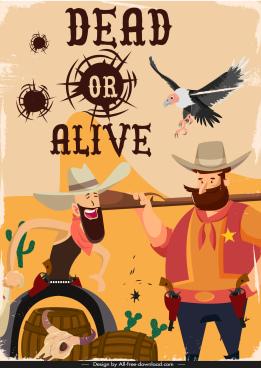 cowboy banner template retro cartoon sketch