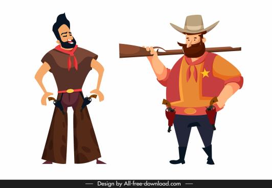 cowboy character icons cartoon sketch