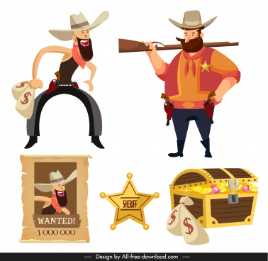 cowboy design elements cartoon characters vintage objects sketch