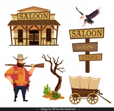 cowboy design elements classic icons cartoon design