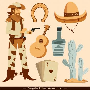 cowboy design elements classical cartoon sketch