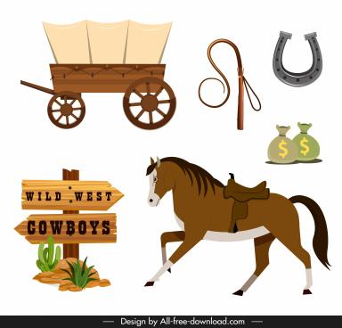 cowboy design elements colored classic symbols sketch