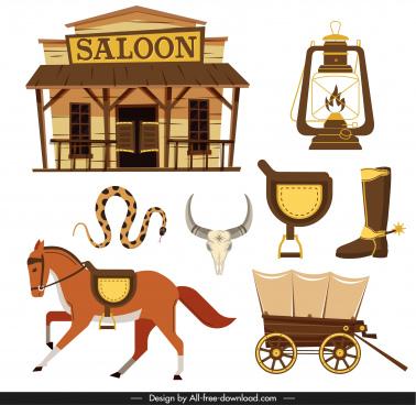 cowboy design elements flat classical symbols sketch