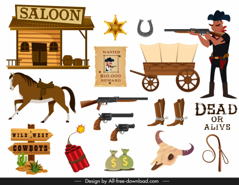 cowboy design elements objects police symbols sketch