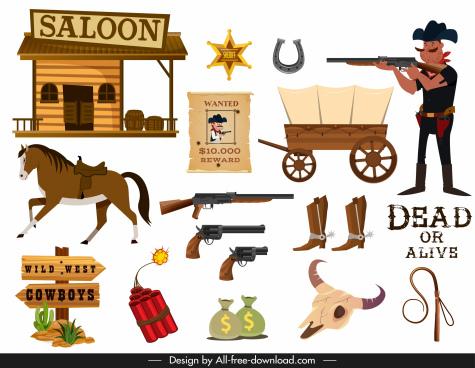 cowboy design elements objects police symbols sketch
