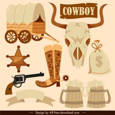 cowboy design elements retro symbols sketch
