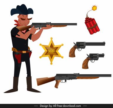 cowboy design elements sheriff weapons sketch cartoon design
