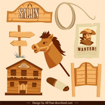 cowboy design elements vintage symbols sketch