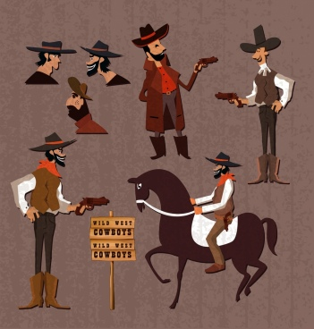 cowboy icons collection various gestures colored cartoon