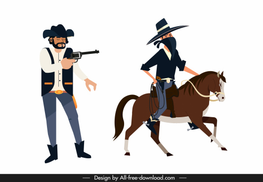 cowboy icons sheriff thief sketch cartoon characters