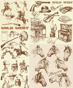 cowboy design elements retro handdrawn symbols sketch