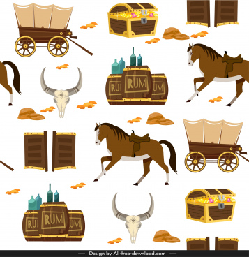 cowboy pattern template retro repeating symbols sketch