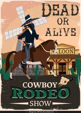 cowboy show banner retro decor cartoon design